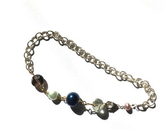 Different Bracelet, Silver, Pink peark, Green Amethyst, Blue, Green, Pearl, Smoky Quartz, Lilyb444,