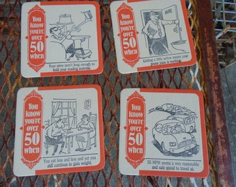 Vintage Coasters Barware set Kitschy 15 Humor Gag Gift You know your over 50 when By ivory tower 1989