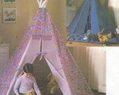 Childrens Tepee and Mat Indoor Tepee for Kids Butterick Sewing Pattern B4251 UnCut Tepee, Mat and Pillow for Kids Room