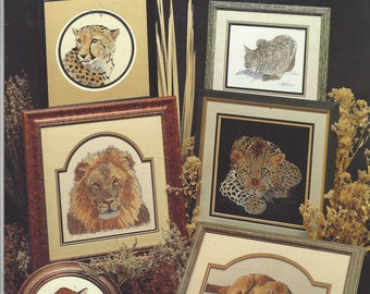 90s The Big Cats Counted Cross Stitch Booklet by Cross My Heart Lion, Tiger, Leopard, Lynx Cross Stitch