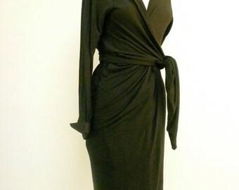 Custom Made Maria Severyna Jersey hooded long sleeve Wrap dress