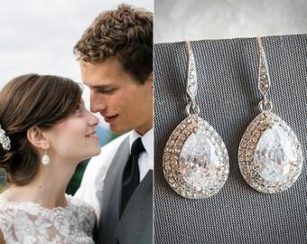 Bridal Earrings, Rhinestone Dangle Wedding Earrings, Teardrop Zirconia Crystal Drop Earrings, Vintage Style Bridal Wedding Jewelry, LYNN