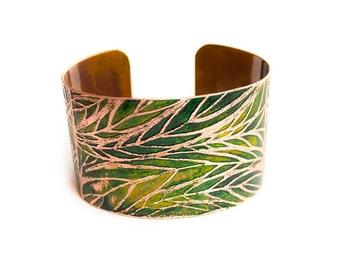 Zentangle Cuff Copper Etched Cuff Bracelet Handmade Copper Jewelry.