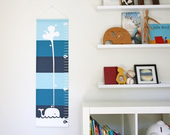Personalized Canvas Growth Chart - Spouting Whale