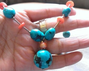 sterling silver necklace with blue turquoise and red coral stones