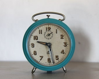 Antique French Jaz  Alarm Clock, Turquoise Metal, Loft Decor