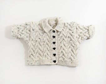 Knitted Baby Jacket, Cable knit Baby Jacket- Natural White,Neutral,Light Grey 0 - 6 months