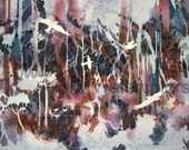 """Abstract Forest, White Birds, Woods, Red Orange, Mauve, Indigo Blue, Watercolor Painting Wall Art, Home Decor, """"Watching the Forest"""" Stein"""