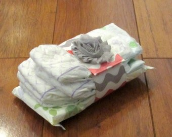 Sale Riley Blake Pink, White and Gray Wave Diaper Strap with Matching Gray Frayed Shabby Chiffon Flower