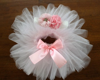 newborn baby girl sewn waist tutu with flower headband
