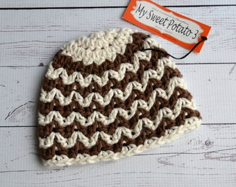 Chevron Hat - Cream & Brown