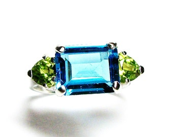 Swiss blue Topaz, swiss blue topaz ring, blue green, emerald side ring Topaz & Peridot 3 stone ring s 7 Electric Blue Surf
