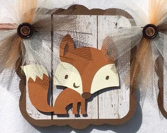 Fox baby shower banner, fox banner, gender neutral decor, woodland banner, woodland decor, fox decor, photo prop, table banner,