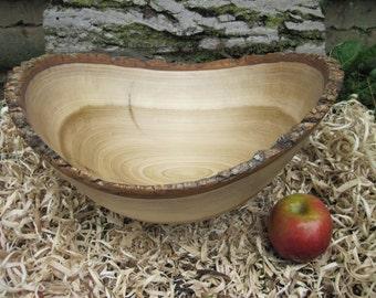 """Natural Edge Large Poplar  Bowl 15"""" Wood Bowl Hand Turned Wood Bowl Live Edge Wood Bowl  Wood Bark Dough Bowl Rustic Wood Food Bowl"""