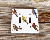Birds Light Switch Cover Double Towne Porcelian Wall Light Switch Cover North American Birds Farmhouse Kitchen Cabin Decor