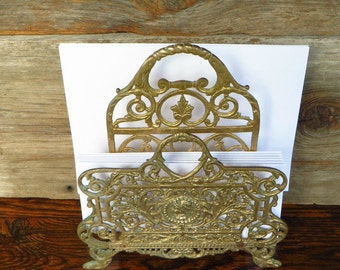 Brass Letter Holder Magazine Stand Ornate Solid Brass Office Organizer 1970s Home Decor