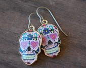 Titanium Earrings with Sugar Skull Charms Hypoallergenic Titanium Ear Wires
