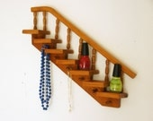 Essential Oil Storage, Nail Polish Rack, Jewelry Organizer, Shelf with Hooks, Vintage Wall Shelf, Wood Step Shelves
