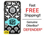 OTTERBOX DEFENDER iPhone 6 5 5s 5c 4/4s iPod Touch 5G Case Custom Two Tone Black Damask Aqua Frame - 3 Letter Monogram Personalized ID