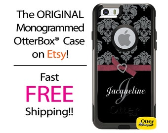 iPhone OtterBox Commuter Case for iPhone 7, 7 Plus, 6/6s, 6 Plus/6s Plus, 5/5s/SE, 5c Galaxy S7 S6 S5 Note 5 Monogrammed Damask Ribbon Case