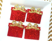 Red glitter fabric present - gold glitter present - Christmas present - Christmas hairbow - glitter fabric - Ready to Ship - Set of 4