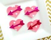 Wool Felt hearts - heart with fuchsia glitter arrow - hot pink heart and arrow - fuchsia glitter fabric - valentines heart - shocking pink