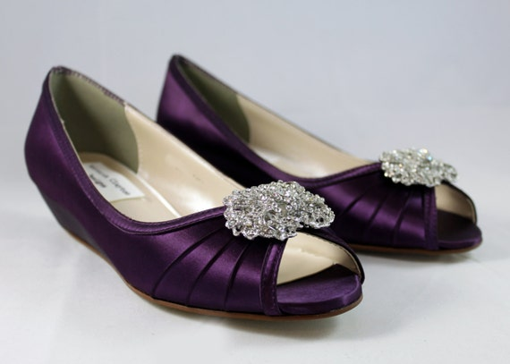 Wedge Heel Shoes For Wedding: Purple Wedding Shoes Wedge 1 Wedge Heels Low By