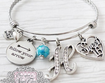 SWEET 16 GIFT, 16th Birthday Gift,Letter Bangle Bracelet, Personalized Jewelry- Follow your Arrow, Sweet 16 Jewelry,  Heart, You are loved