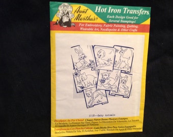 Aunt Marthas Baby Animals iron on transfers