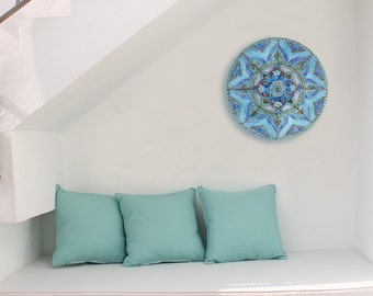 Circle garden decor with mandala design, outdoor wall art glazed in turquoise, Ceramic tile, 62cm