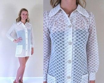 vtg 60s white CROCHET cut out MINI DRESS mod Small dolly retro pockets festival boho hippie go go space age babydoll twiggy