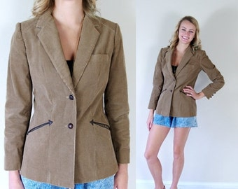 Half Off vtg 80s tan CORDUROY fitted ARROW POCKETS Jacket Small skinny blazer brown Sasson indie southwestern cowboy