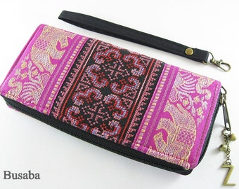 Personalized Monogramed Wallet, Elephant Embroidered Zippered Wallet, Colorful Hmong Tribal Long Wallet, Pink Wallet