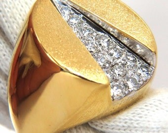 18kt Greek Island of Lesbos Souvenir Ring .55ct natural diamonds