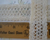 "Ecru Lace Crochet Cotton Cluny Lace trim 1.25"" wide Antique White edging insert embellish retro light delicate yards off white natural color"