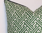 Bench Cushion Cover in Lacefield Geometric Kelly Fabric