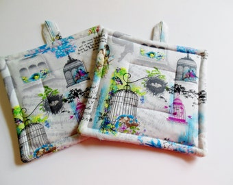 Potholders, Set of Two Quilted Potholders, Pr Of Pretty Birdcage Potholders