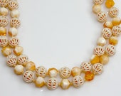 Beaded 2 Strand Necklace ~ Peach Faceted Lucite Beads ~ Vintage MOD 60's Fashion ~ Hong Kong ~ Gift For Her Birthday - estate jewelry