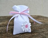 Set of 55 Custome Favor Daisies Bags Bomboniera white and Pink Candy Bag
