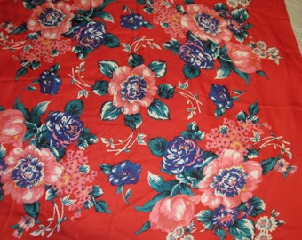 Large Vintage  Floral Totes Rain Scarf Made in Italy   #076