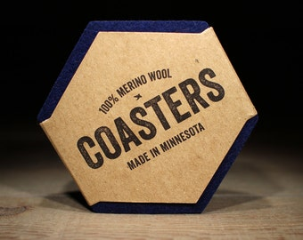 100% Wool Hexagon Felt Coasters - 5mm Thick German-milled Felt - Rich, Lightfast Colors - Natural and Renewable - Navy Blue