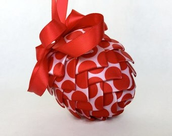 Pink and Red Polkadots Ribbon Pinecone Ornament Easter Egg
