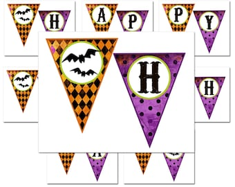 Happy Birthday Halloween Printable Bunting Banner - Whimsical Chic Halloween Party Collection