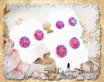 504•Raspberry Ice Faux DRUZY Earrings•Stud Earrings•Boho Earrings•Post Earrings