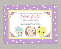 Baby Animal Baby Shower Invitation, Animal Baby Shower Invitation, Girl, Spring