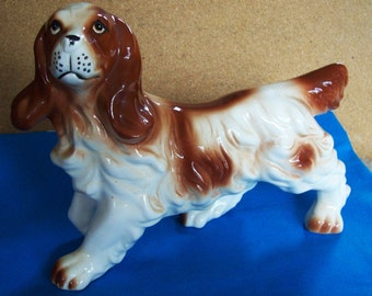 vintage springer spaniel dog, hunting dog marked Japan