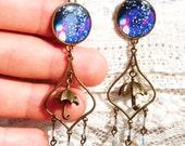 Under The Rain Chandelier Resin Long Earrings - LightWeight - Crystal Beads - Umbrella - Gift Ideas - For Her - Handmade - 2016 - Spring