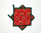 Pot Holders Quilted Tomato Kitchen Decor Red Green Set of 2