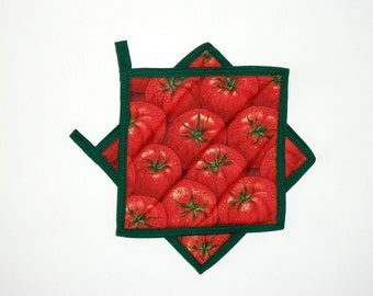 Pot Holders Quilted, Tomato Decor, Kitchen Decor, Red Green, Hot Pads, Country Kitchen,Summer Decor, Tomato Pot Holders, Set of 2