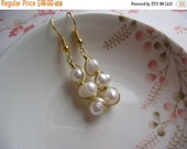 Clearance Freshwater Pearls Earrings - Wire Wrapped Pearls Earrings - Gold Plated Earrings